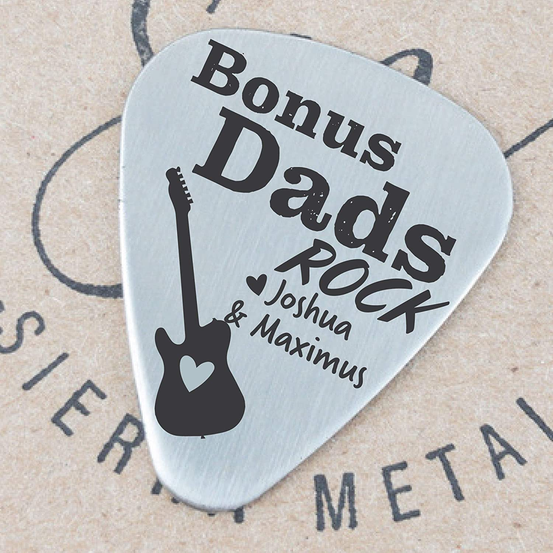 Bonus Dad Gift Stepdad Gift Fathers Day Bonus Dad Guitar Pick Personalized Names Stepdad Guitar Pick Gift For Bonus Dad Gift Birthday Gift BONUS-PICK