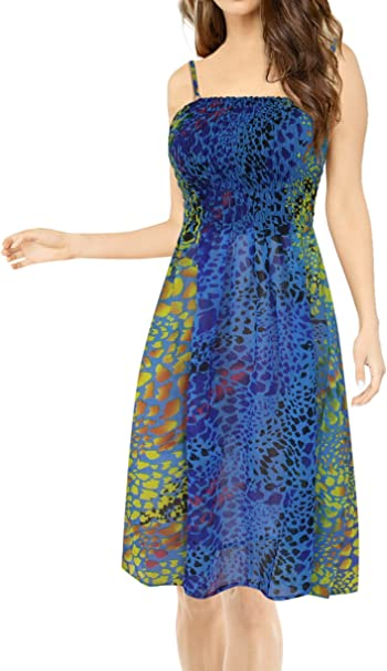 LA LEELA Women\'s Plus Size Elastic Tube Top Dress Evening Party Dress  Printed A