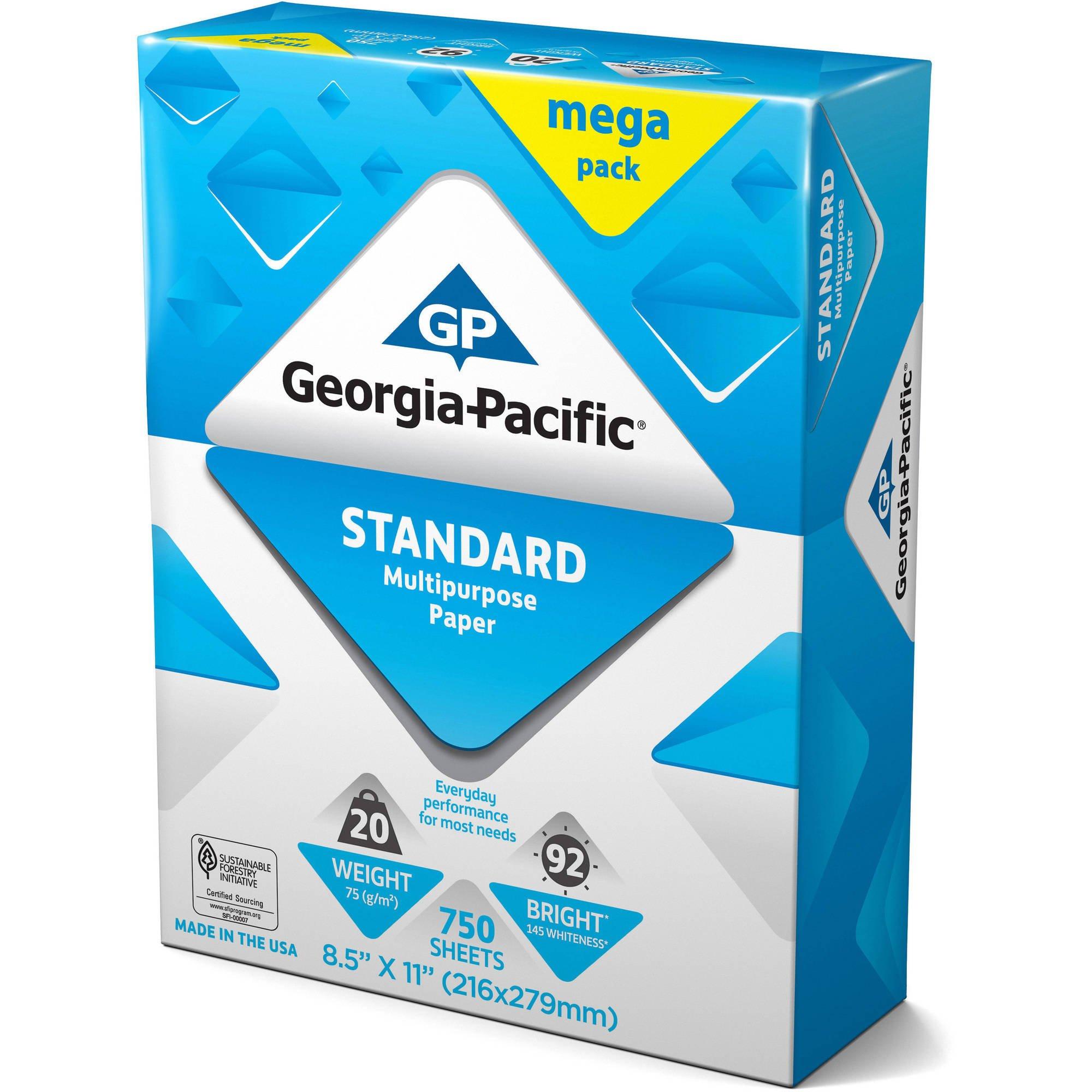 Georgia-Pacific Standard Multipurpose Paper, 8.5'' x 11'', 20 lb, 92 Brightness, 750 Sheets