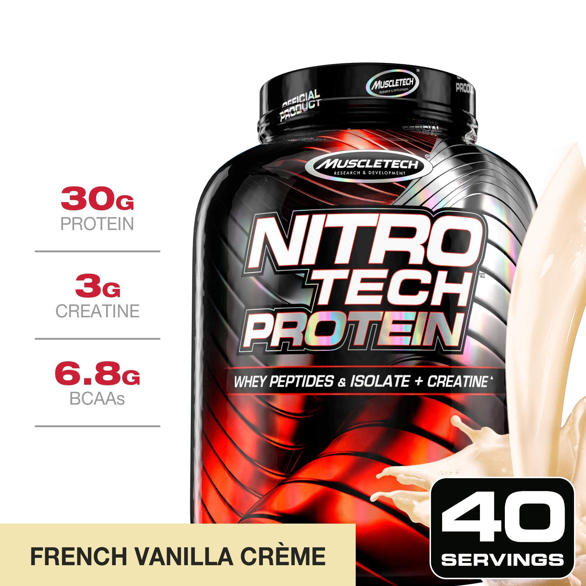MuscleTech NitroTech Protein Powder Plus Muscle Builder, 100% Whey Protein with Whey Isolate, Vanilla, 40 Servings (4lbs) by MuscleTech