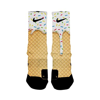 a371dbb0826 Amazon.com: HoopSwagg Ice Cream Custom Elite Socks: Clothing