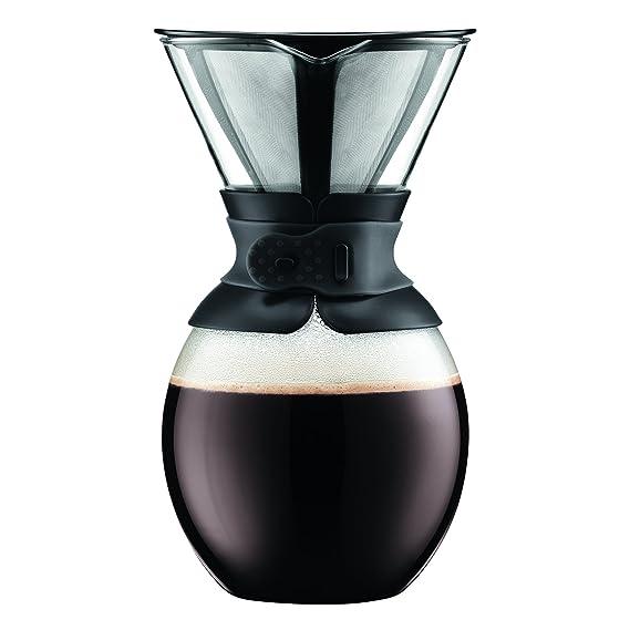 Bodum Pour Over 0.5 L Cafetera de Goteo con Filtro Dorado, Vidrio, plástico, Acero, Blanco Crema, 0,5 litros