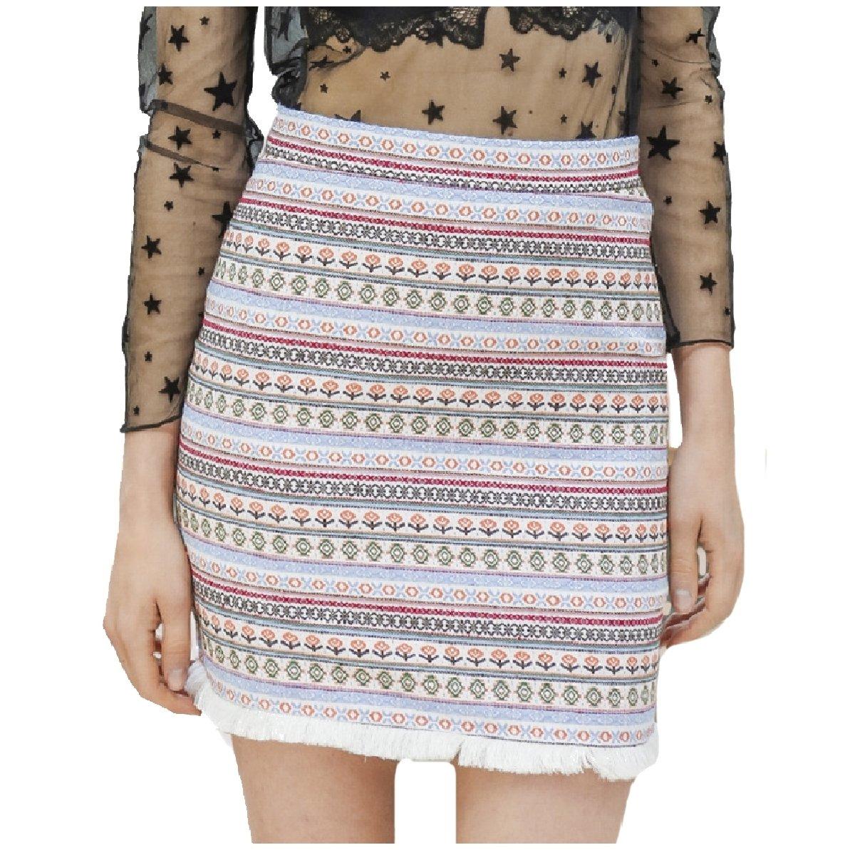 YUNY Womens High Waist Fine Cotton Pencil Ethnic Style Fringe Skirt White S