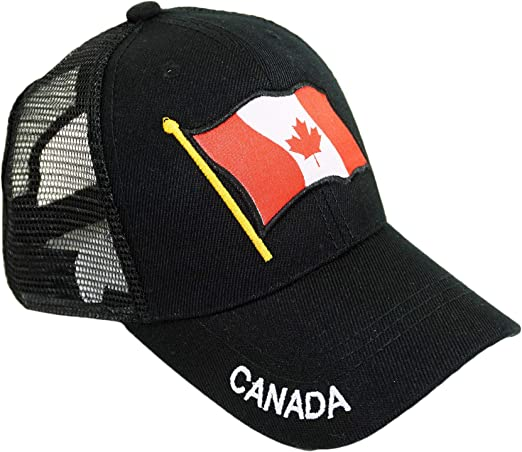 Men Women Mesh Dad Cap Canada Day Red Maple Leaves and Text Snapback Flat Bill Hat