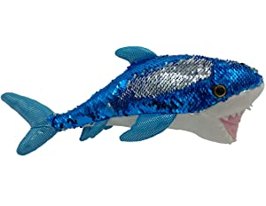 "LMC Products Shark Stuffed Animal - Reversible Sequin Shark Plush - 14"" Blue to Silver"