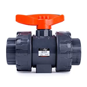 "HYDROSEAL Kaplan PVC 1 1/2"" True Union Ball Valve with Full Port, ASTM F1970, EPDM O-Rings and Reversible PTFE Seats, Rated at 200 PSI @73F, Gray, 1 1/2 inch Socket (1 1/2"")"