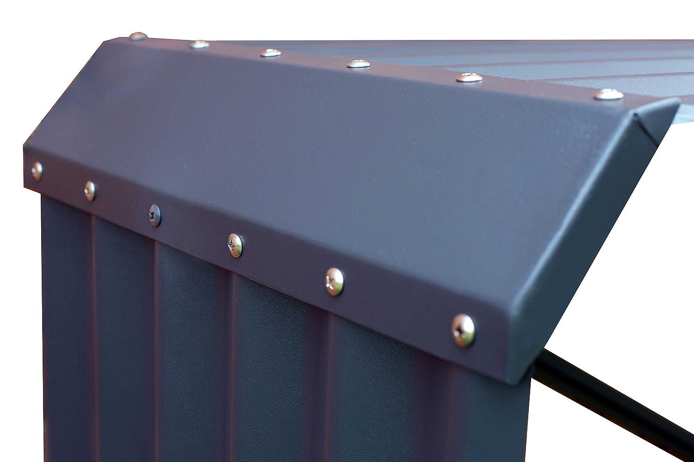 OUTFLEXX estante de leña para chimenea hecho de zink en color antracita, aprox. 210X45x105 cm, formato horizontal, soporte tanto para la leña de la chimenea ...