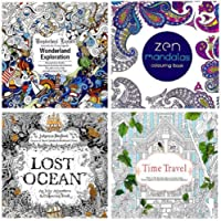 4 Adult and Art Project Coloring Books - Lost Ocean, Time Travel, Wonderland Exploration and Zen Mandalas-With Free Pack of Color Pencils