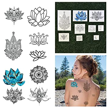 Amazon tattify assorted lotus flower temporary tattoos body tattify assorted lotus flower temporary tattoos body mind and spirit complete set of mightylinksfo