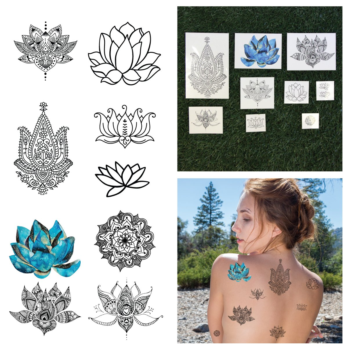 Amazon Temporary Tattoo Large Lotus Yoga Inspired Tattoo