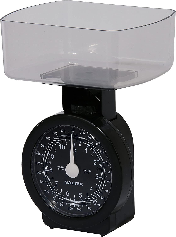 Salter Báscula de Cocina mecánica compacta de 5 kg, plastico, Negro, 9x13.5x17.5 cm