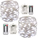 Led String Lights Battery Powered,[2 Pack] Fairy String Lights Battery Operated Waterproof 8 Modes 100 LED 33ft with Remote Control Christmas Decoration Lights (Cool white-10M)
