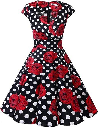 TALLA S. Bbonlinedress Vestido Corto Mujer Retro Años 50 Vintage Escote Black White Rose S