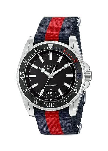 Gucci YA136210- Reloj con movimiento de cuarzo para hombre, correa de nilon, color azul y rojo: Amazon.es: Relojes