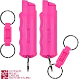 SABRE RED Pink Pepper Spray Keychain for Women with Quick Release for Easy Access – Maximum Police Strength, Finger Grip for Aim & Accuracy, 10-Foot (3M) Range, 25 Bursts – Helps Fight Breast Cancer