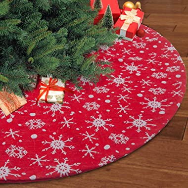 S-DEAL 48 Inches Christmas Tree Skirt Double Layers Red White Snow Carpet Party Holiday Decorations Xmas Ornaments