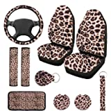 10 PCS Leopard Print Car Decorations, Include Leopard Front Seat Covers, Steering Wheel Cover, Leopard Car Coasters Cup Holde