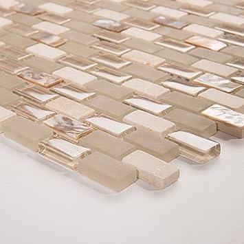 10cm x 10cm muster perlmutt glas und naturstein mosaik fliesen muster mit ziegelstein optik - Fliesen Mit Muster