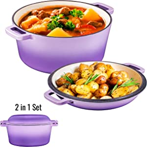 2 in 1 Enameled Cast Iron Double Dutch Oven & Skillet Lid, 5-Quart, Induction, Electric, Gas & In Oven Compatible, Enameled Purple