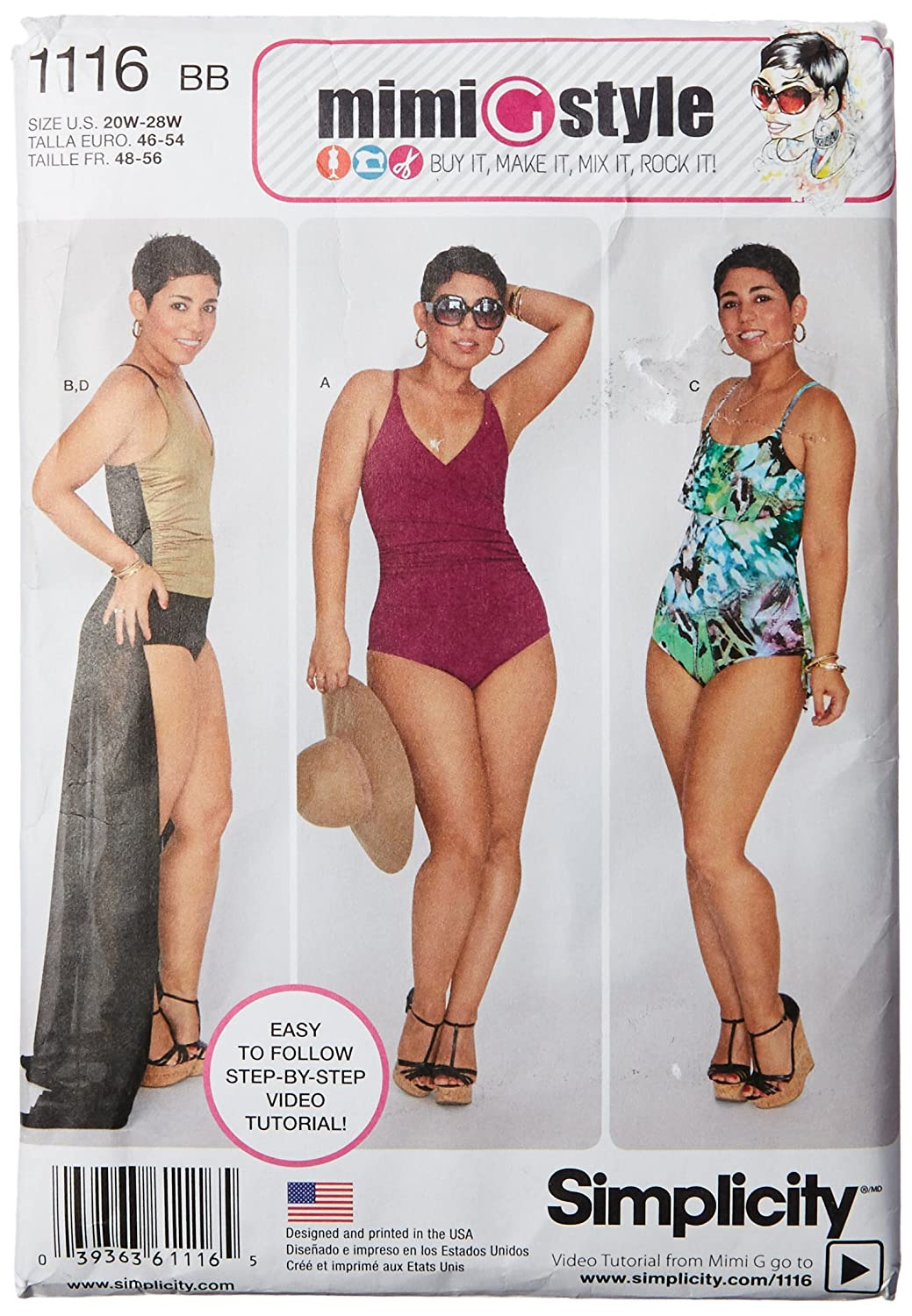 Simplicity Mimi Style Pattern 1116 Womens Swimsuits and Wrap Skirt Sizes 20W-28W