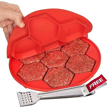 Eroilor Hamburguesa de silicona de prensa y del congelador contenedores, 7 hexagonal libre de BPA molde antiadherente, compartimentos para tartas, galletas, ...