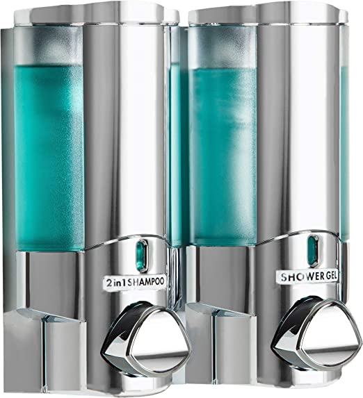 Aviva Chrome Finish Double Soap Shampoo Gel Dispenser 2 X 325ml Secure Adhesive Fixing Screws Not Required Amazon Co Uk Kitchen Home
