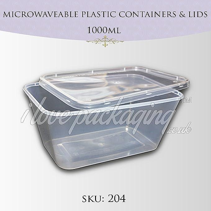 PPD 50 x plástico 1000 ml para microondas Tapa de envases y tapas ...