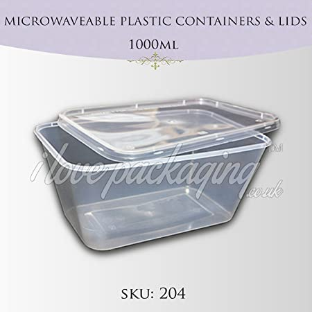 PPD 50 x plástico 1000 ml para microondas Tapa de envases y ...