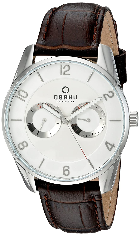 Obaku Uhren Herren Multifunktions Leder Armbanduhr