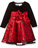Blueberi Boulevard Baby Girls' Long Sleeve Flocked and Glitter Emb Overlay Dress