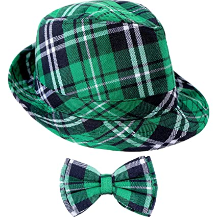 Image Unavailable. Image not available for. Color  Zhanmai St. Patrick s  Day Green Plaid Hat ... a9d731103f9b