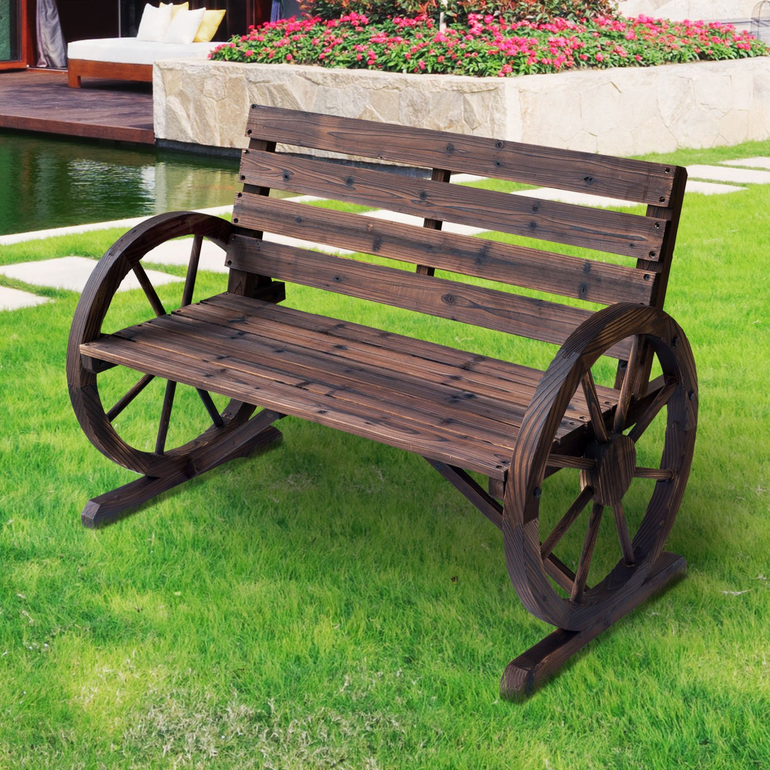 bench headboard vintage wheel wagon