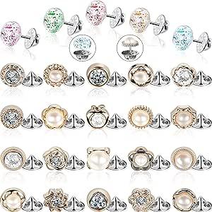Hicarer 30 Piezas Mujer Camisa Broche Botones Tapa Botón de Cierre Broche de Seguridad Botones para Ropa Suministros de Vestir
