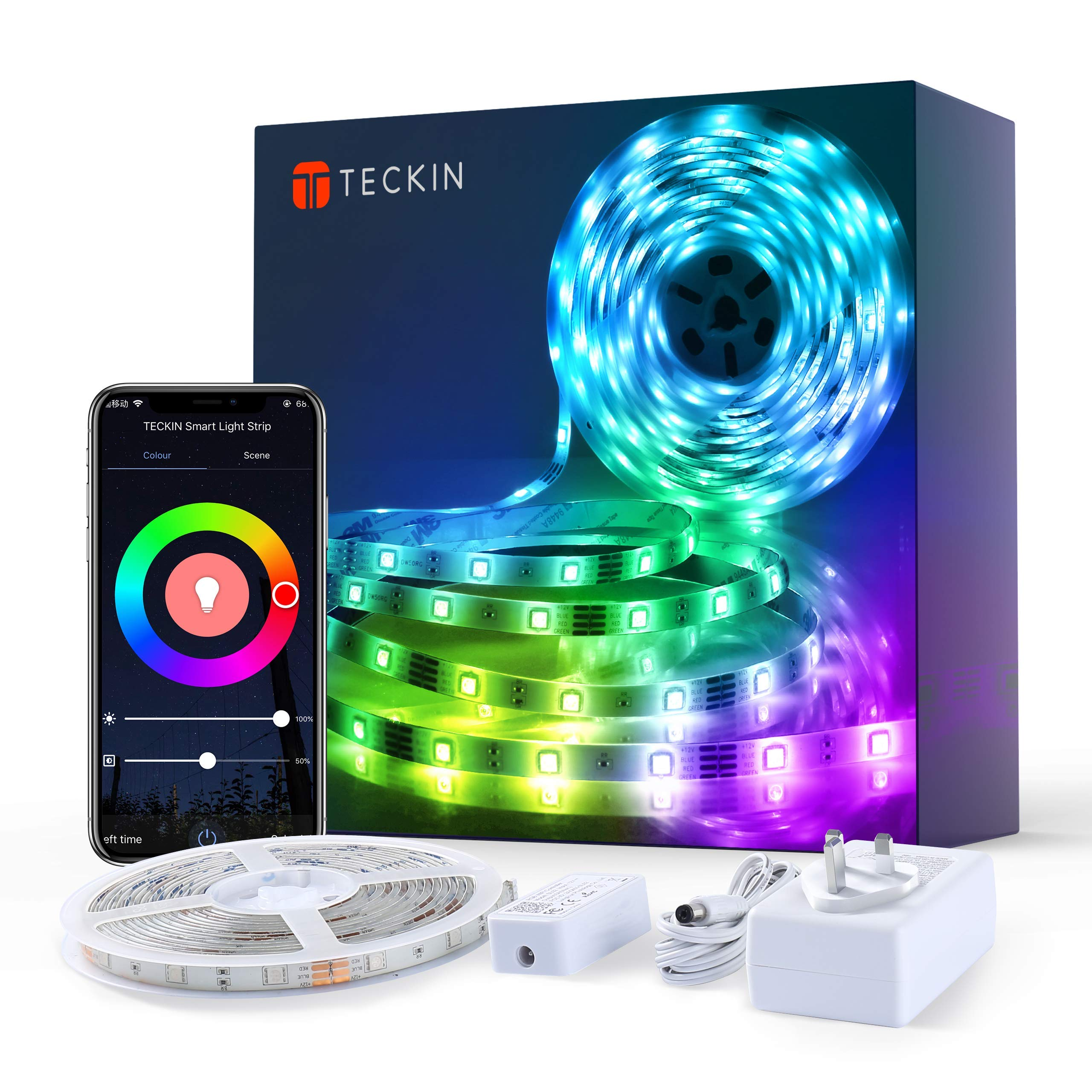 Teckin LED Strip Lights 5m, Smart WiFi led Strip Waterproof APP Control RGB Colour Changing Music Sync Strips Lights for Home Kitchen Bedroom TV Party, Works with Alexa, Google Assistant [Energy Class A+++]