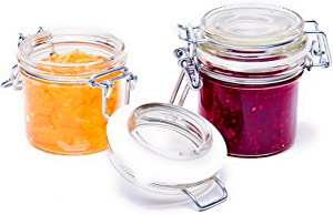 Swing Top Jars (3oz) - Set of 6 Jars with Flip Top // Made in Germany // Jelly Jars with Glass Lids and Rubber Gasket, Ideal for Jam, Honey, Wedding Favors, Shower Favors, Baby Foods, Spice Jars