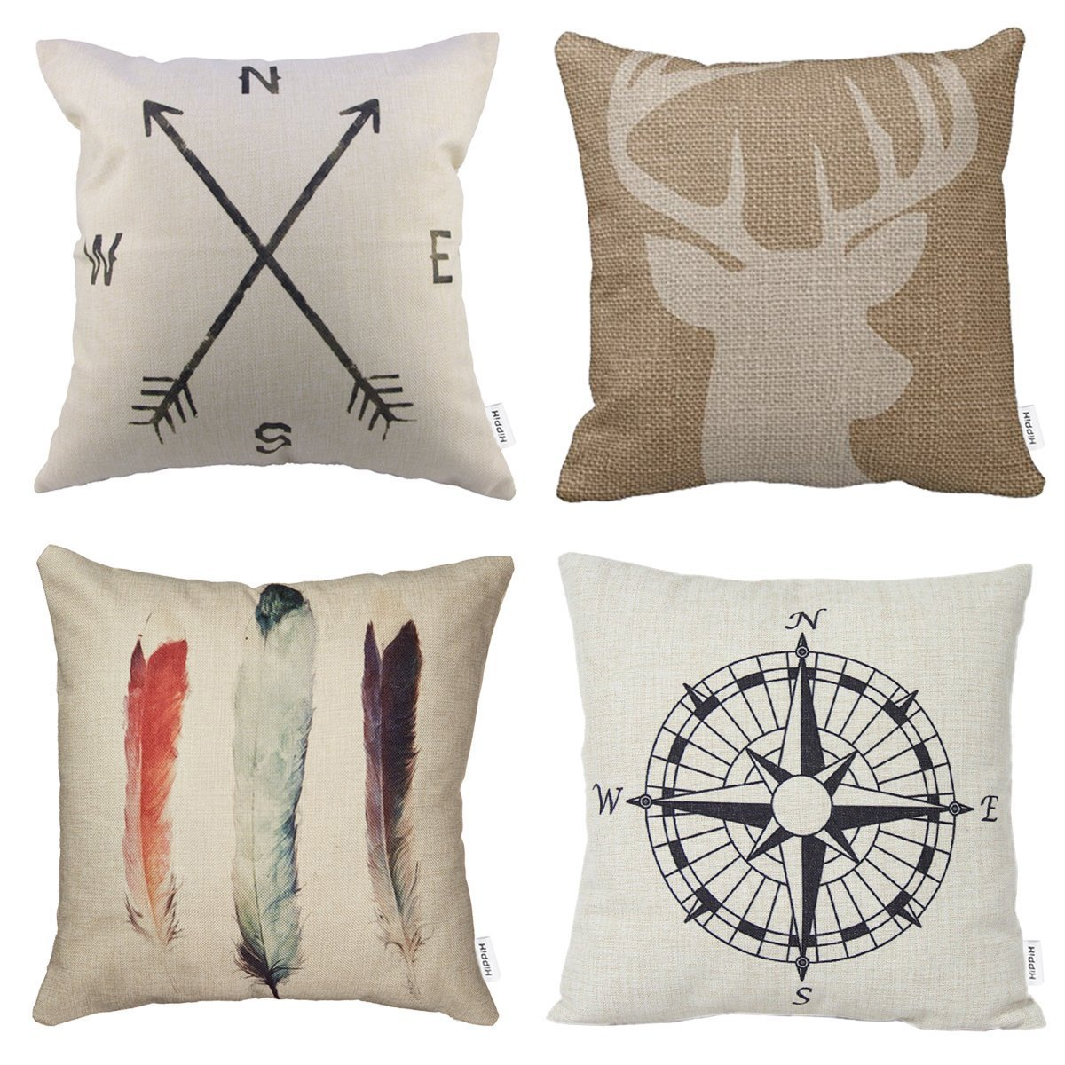 Superior 4 Packs Hippih Cotton Linen Sofa Home Decor Design Throw Pillow Case  Cushion Covers 18 X 18 Inch ,1x Deer Antlers + 1x Feathers + 1x Compass +  1x Navigation ...