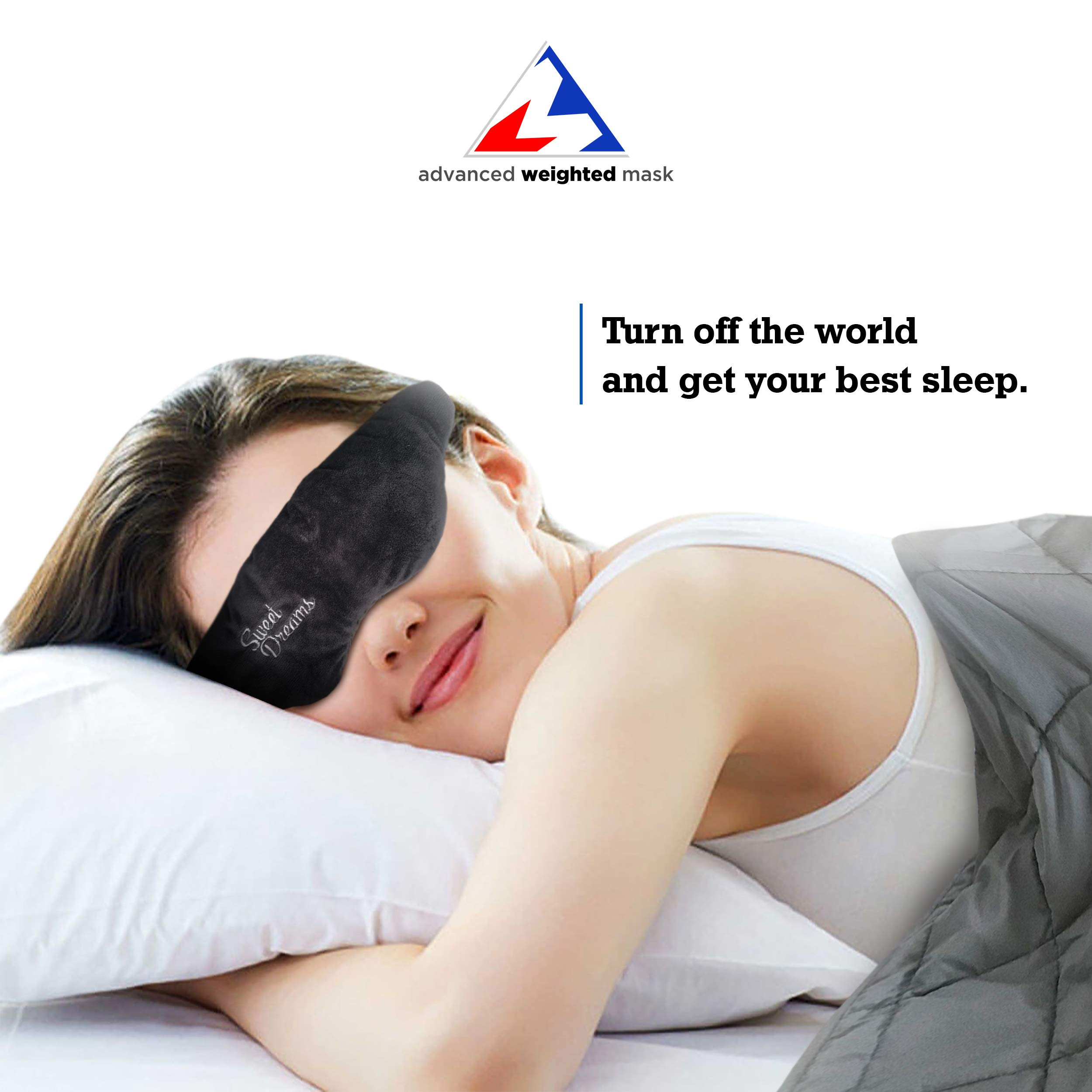 Advanced Weighted Sleep Mask with Adjustable Head Strap - Double-Sided Light-Proof Weighted Sleeping Mask - Induce Faster and Deeper Sleep - Comfortable Design - Perfect for Anxiety & Insomnia (Black)