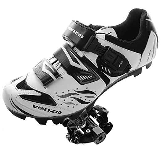 Venzo Mountain Bike Bicycle Cycling Shimano SPD Shoes + Sealed Pedals 45: Amazon.es: Deportes y aire libre