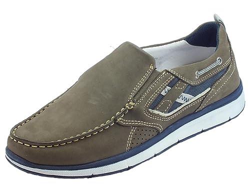 Zen Mocasines de Piel Para Hombre Gris Size: 41 EU: Amazon.es: Zapatos y complementos