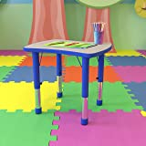 Flash Furniture 21.875''W x 26.625''L Rectangular Blue Plastic Height Adjustable Activity Table with Grey Top