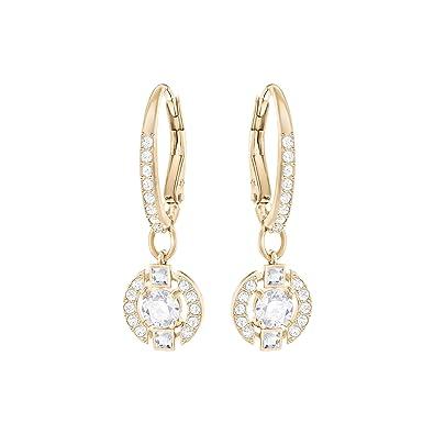 0cfd7aee4 Swarovski Sparkling Dance Round Pierced Earrings, White, Rose gold plating
