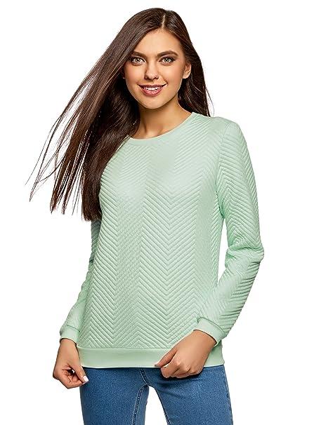 oodji Ultra Damen Gerades Sweatshirt aus Strukturiertem Stoff