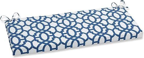 Pillow Perfect Outdoor Indoor Nunu Geo Bench Swing Cushion, 45 x 18 , Ink Blue