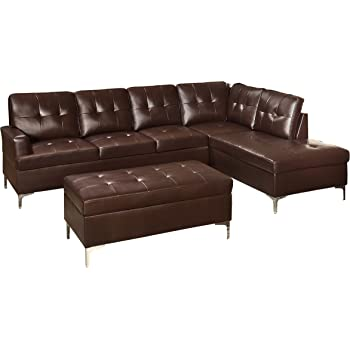 homelegance 3 piece tufted accent sectional sofa with chaise and ottoman bi cast. Black Bedroom Furniture Sets. Home Design Ideas