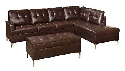 Delightful Homelegance 3 Piece Tufted Accent Sectional Sofa With Chaise And Ottoman  Bi Cast Vinyl
