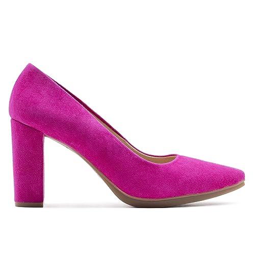 Zapatos de tacón medio para mujeres, cierre con correa, color rosa, talla 42