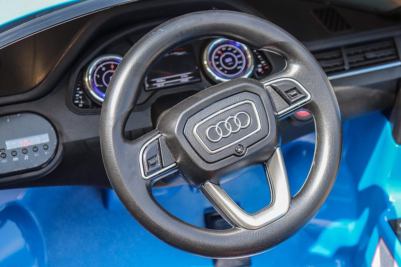 Bater/ía Rojo Asiento Individual Puertas Que se Abren Bater/ía de 12 V Azul Coche el/éctrico para ni/ños Audi Q7 Quattro Nuevo Control Remoto de 2.4 GHz 2 x Motor con Licencia Original