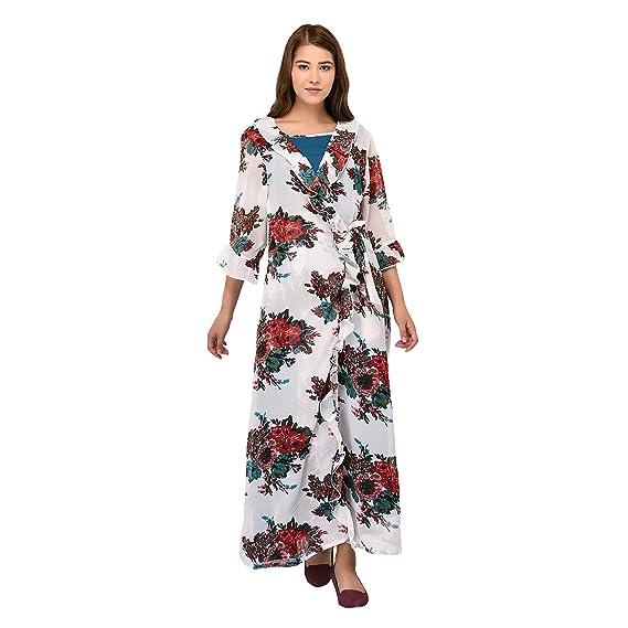 Patrorna Blended Women s Nighty with Robe in Dark Sky Blue Multi Print  (Size S cf43370bf