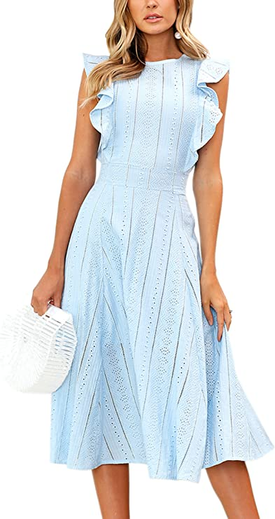 ECOWISH Womens Dresses Elegant Ruffles Cap Sleeves Summer A-Line Midi Dress Blue L best women's spring dresses