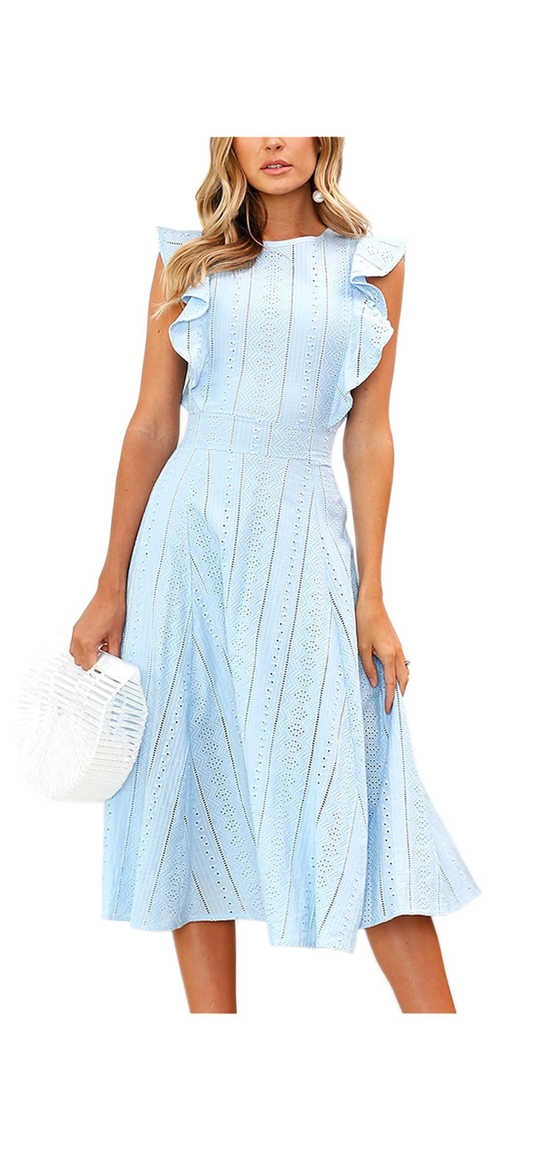 Womens Dresses Elegant Ruffles Cap Sleeves Summer A-line